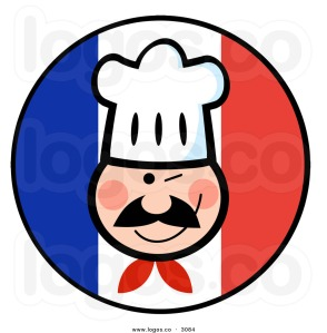 royalty-free-vector-of-a-winking-chef-face-on-a-french-flag-logo-by-hit-toon-3084